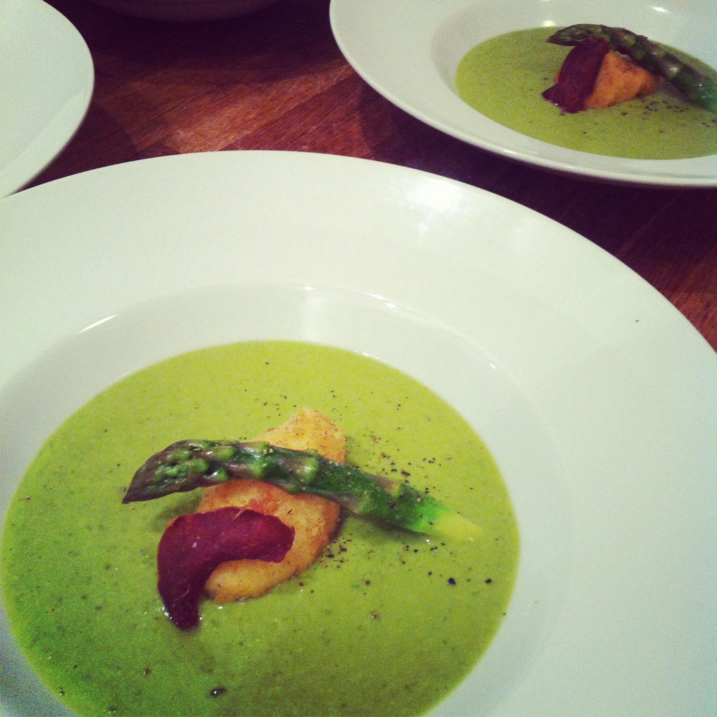 Asparagus soup with a crispy poached egg and parma ham crisp | Food by ...